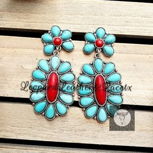 Jewelry - Turquoise Red Flower Stone Drops